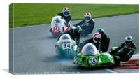 Racing sidecar at Snetterton racetrack , Canvas Print