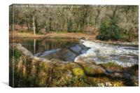 The River Dart at Holne Weir., Canvas Print