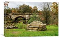 The Nidd Aquaduct and stone Seat, Canvas Print