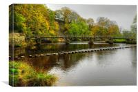 Stepping Stones and bridge Bolton Abbey, Canvas Print