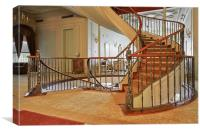 Hallway and spiral staircase, Canvas Print