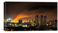 Night sky glows with Bandra Blaze, Canvas Print