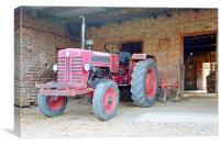 Tractor at the barn, Canvas Print