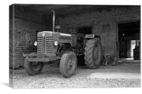 Tractor at home stable, Canvas Print