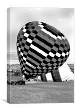 Up she rises hot air balloon, Canvas Print