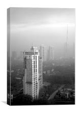 Elevated view of smog filled Bombay Skyline, Canvas Print