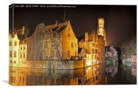 Bruges Canal By Night, Canvas Print