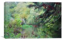 RIVER ITCHEN IN AUTUMN PAINTING, Canvas Print