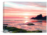 TREVONE BAY SUNSET                       , Canvas Print