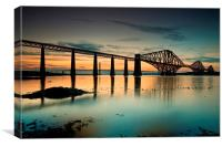 Forth Rail bridge sunset, Canvas Print