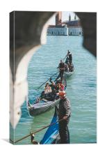 Rowing in Venice, Canvas Print