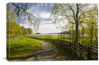 Round pole fence in spring, Canvas Print