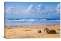 Dog and sneakers on beach, Canvas Print