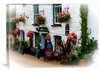 Millys Tea Room in Polperro, Cornwall, Canvas Print