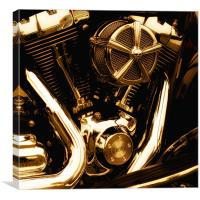 Motorcycle Gold Engine, Canvas Print