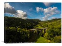 Aerial view of Headstone viaduct, Bakewell No2, Canvas Print