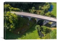 Aerial view of Headstone viaduct, Bakewell No4, Canvas Print