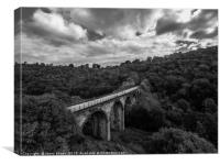 Aerial view of Headstone viaduct, Bakewell No5, Canvas Print