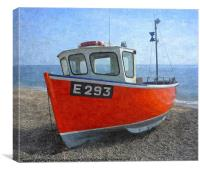 Beached boat at Branscombe 2, Canvas Print