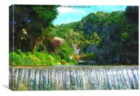 Waterfall view to Cheddar gorge, Canvas Print