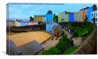 Picturesque,pastel houses in Tenby harbour, Canvas Print