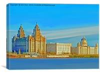 Liverpool 3 Graces (Digital Art), Canvas Print