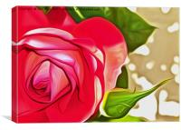 Red Rose (Digital Art), Canvas Print