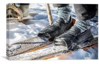 Home made wooden skis, Canvas Print