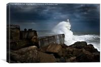 Storm hits Aberdeen Breakwater, Canvas Print