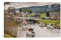 Locks at Fort Augustus in the mist, Canvas Print