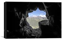 Mountain view from the cave, Canvas Print