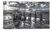 Groynes on Seamill Beach Monochrome, Canvas Print