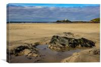 Godrevy Lighthouse and Gwithian Beach, St Ives Ba, Canvas Print