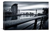 RAIN DROPS ON THE QUAYS., Canvas Print