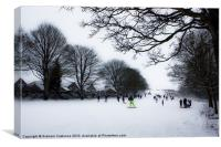 Sledging at the Downs, Canvas Print