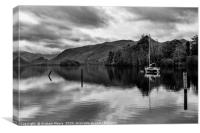 Derwentwater and Castle Crag monochrome, Canvas Print
