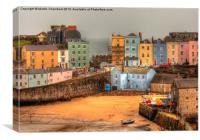 Tenby Harbour and Georgian Houses, Canvas Print