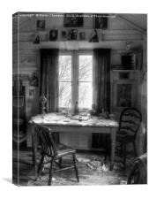 Dylans Desk in The Writing Shed , Canvas Print