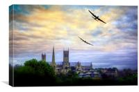 Lincoln Cathederal Flyby, Canvas Print