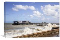 Cromer Pier with Waves, Canvas Print