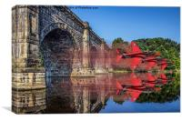 Red Arrows through the aqueduct, Canvas Print