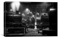 Morayshire smoking in the roundhouse., Canvas Print