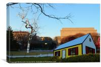 Silver  Tree Yellow House, Canvas Print