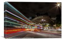 London Bus at Night with Light Trails, Canvas Print