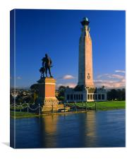 Plymouth Naval Memorial & Drake Statue, Canvas Print