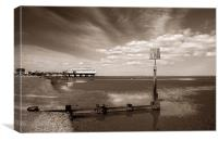 Cleethorpes Pier & Beach at Low Tide, Canvas Print