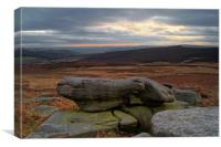 Over Owler Tor Sunset From Carl Wark, Canvas Print
