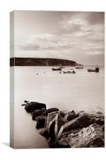 Swanage Bay in Sepia, Canvas Print