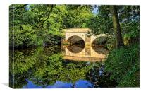 Leadmill Bridge and River Derwent Reflections, Canvas Print