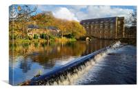 Bamford Weir and Mill , Canvas Print